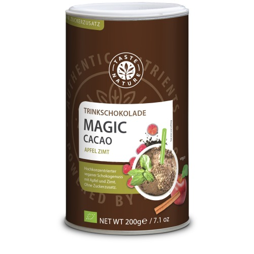 Taste Nature Magic_Cacao_Apfel_Zimt_200_Dose_VS