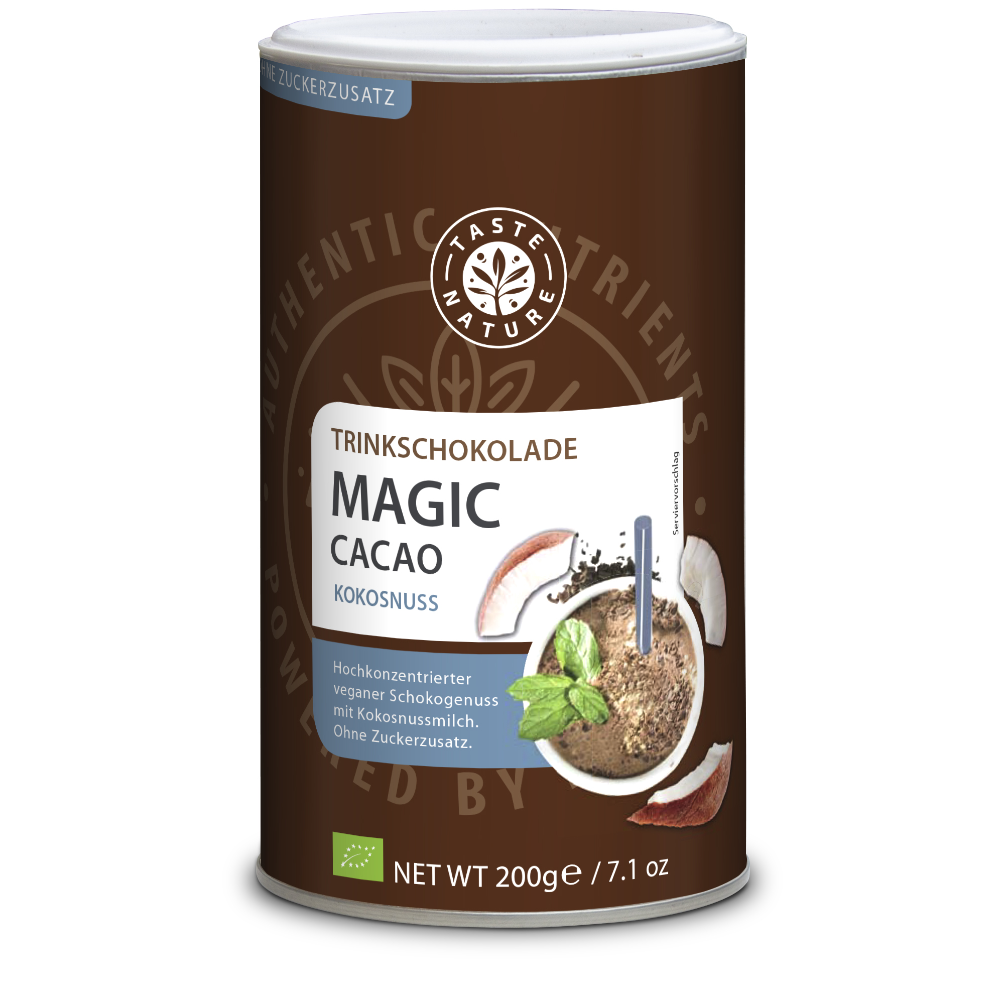 Taste Nature Magic_Cacao_Kokosnuss_200_Dose_VS